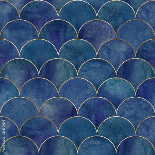 Mermaid fish scale wave japanese seamless pattern - 208309895