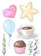birthday party set of objects isolated on white hand-drawn illustration