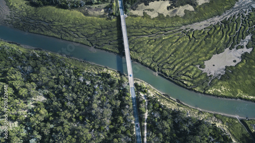 Fotobehang Khaki River Patterns and Bridge, Tasmanian Landscape Australia Views from the air