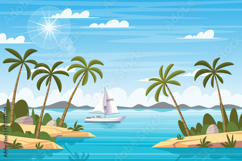 Fotobehang Blauw Tropical Landscape With Boat
