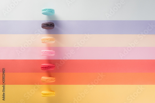 Canvas Macarons Colorful macarons or macaroons dessert sweet beautiful to eat