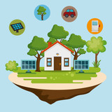 house with save the world icons vector illustration design - 208324807