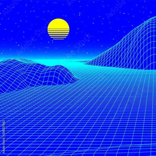 Fotobehang Donkerblauw Landscape with wireframe grid of 80s styled retro computer game or science background 3d structure with sun and mountains