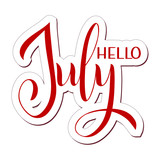 Hello July lettering. Elements for invitations, posters, greeting cards. Seasons Greetings - 208340087