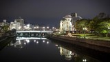 Hiroshima Atomic Dome Peace Park, night time lapse of historic sight of World War II nuclear attack on Japan. - 208340691