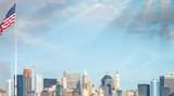 Manhattan skyline from Ellis Island, New York - 208342476
