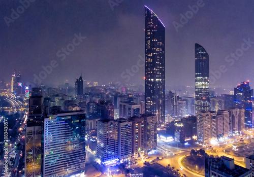 Fotobehang Abu Dhabi Night aerial view of Abu Dhabi Downtown Skyscrapers, United Arab Emirates