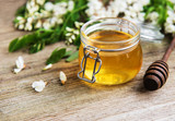 Honey with acacia blossoms - 208345248