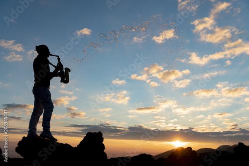 Fotobehang Muziek unusual beautiful day for saxophonist