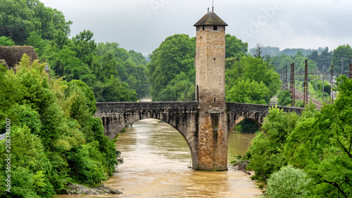 Plakat Bridge over river Gave de Pau in Orthez - France