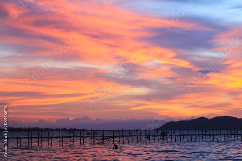 Fotobehang Koraal Beautiful sky at twilight time