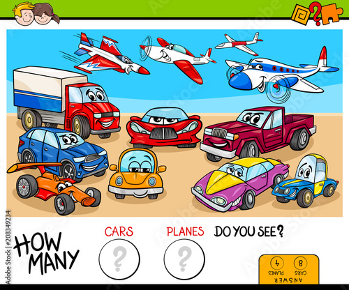 Aluminium Auto counting cars and planes educational game