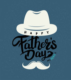 Happy Father's Day Calligraphy greeting card. Vector illustration. - 208350460