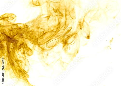 Yellow smoke on white background