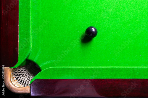 Snooker table top view with snooker balls on green - 208351696