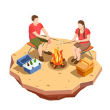 Campfire Outing Isometric Composition - 208354211