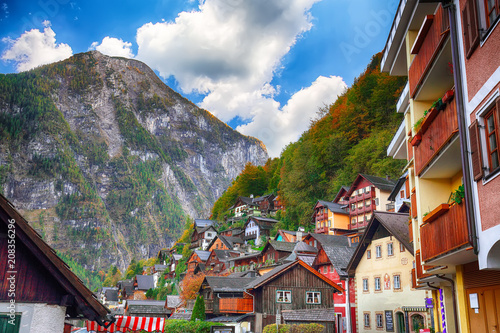 Classic postcard view of famous Hallstatt lakeside town  in the Austrian Alps © pilat666