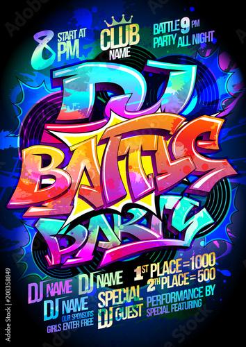 Fotobehang Graffiti Dance battle party