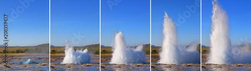 Leinwanddruck Bild Strokkur Geyser eruption in sequence. Geothermal power, Iceland