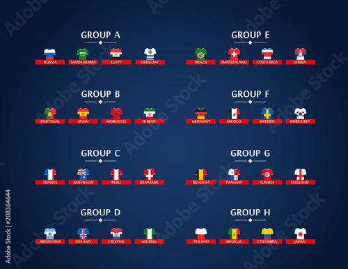 Grupy mistrzostw świata w piłce nożnej. Program turniejów piłkarskich. Infografika piłki nożnej