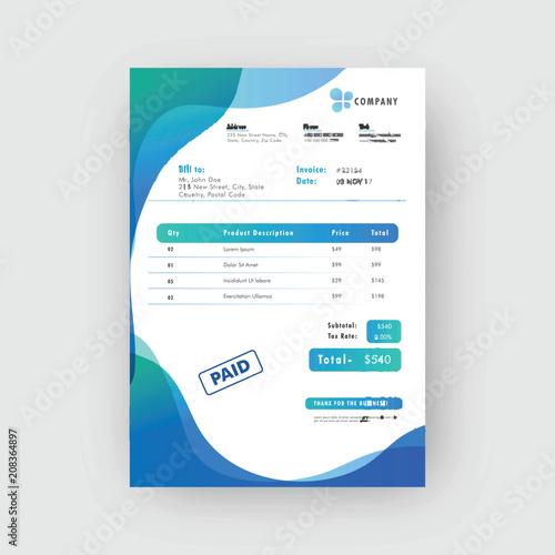 Blue Corporate Invoice Or Estimate Template Buy Photos AP