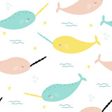 Seamless pattern with cute narwhals. Vector hand drawn illustration. - 208365478