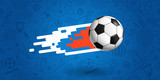 Flying soccer ball on blue background vector illustration - 208365489