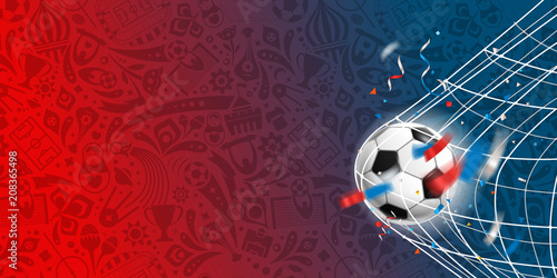Soccer ball on the net. Vector template for a text © tovovan