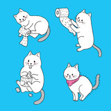 Cartoon cute actions white cat and tissue paper vector.