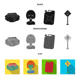 Zombies and Attributes black, flat, monochrome icons in set collection for design. Dead man vector symbol stock web illustration.