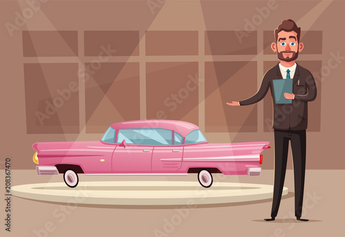 Aluminium Auto Sale of a new car. The seller at the car showroom shows the vehicle. Vector cartoon illustration