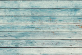 Old blue shabby wooden planks with cracked color paint - 208372854