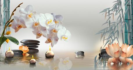 Wandbild mit Orchideen, Steinen und Bambus im Wasser und schwimmenden Kerzen © i-picture
