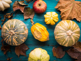 Moody green autumn background with pumpkins , apples, yellow leaves. Fall still life flat lay - 208375037