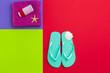 Summer holiday background, Beach accessories on color block background