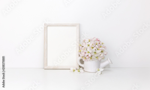 White wooden vertical frame mockup with flowers - 208378881