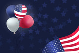 US Patriotic balloons and flag specially for the Fourth of July. Memorial Day. Martin Luther King Day. - 208382034