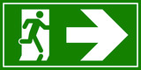Emergency exit sign. Man running out fire exit - 208385214