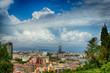 BARCELONA, SPAIN: Panoramic view of the Port of Barcelona. According to AAPA World Port Rankings, Barcelona is 8th busiest container port in Europe. - 208387619