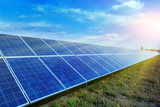 Solar panels, photovoltaic, alternative source environmentally friendly energy. In the backlight sunbeam light. - 208390283