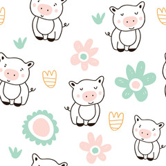 Cute pigs characters colorful seamless pattern