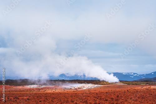 Canvas Blauwe hemel Geothermal area Namafjall with steam eruptions, Iceland, Europe