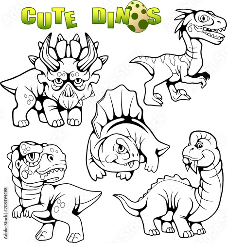 cartoon cute prehistoric dinosaurs, set of vector images
