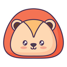 Cute Lion Icon Over    Illustration Sticker