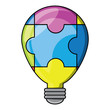 puzzle pieces in bulb light shape over white background, colorful design. vector illustration