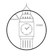 Big Ben icon Vector illustration on white background in a circle