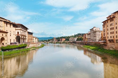 Aluminium Florence Ponte alle Grazie medieval bridge on Arno river