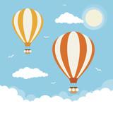 Cartoon Vector Hot Air Balloons - 208403037
