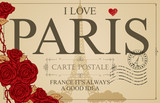 Retro postcard with the famous french Eiffel tower in Paris, France. Vector postcard in vintage style with words I love Paris, french landmark, red heart and roses and rubber stamp