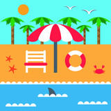 Summer vacation on the beach and the sea. Parasol and deckchair. Set of elements in flat style. Vector  - 208405636